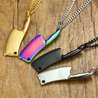 Men's Stainless Steel Kitchen Knife Pendant Necklace Punk Funky Chef Jewelry