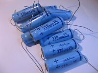 Electrolytic Capacitor Nichicon 330uF 35V Axial - NOS Qty 10