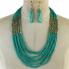 Multi Layers Turquoise Glass Seed Bead Gold Tone Cube Bead Necklace earring
