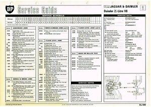 DAIMLER 2.5 LITRE V8 SALOON 1962-67 ORIGINAL BP MAINTENANCE & LUBRICATION CHART