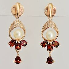 NATURAL GARNET PEARL DROP EARRINGS 20pts GENUINE DIAMONDS 9K 375 ROSE GOLD NEW
