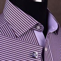 Mens Purple Herringbone Twill Formal Business Dress Shirt Egyptian Cotton Fabric