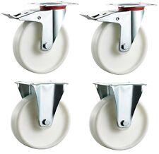 4x 100mm Swivel Braked & Fixed Castors Casters with Nylon Wheels - 400Kg/Set