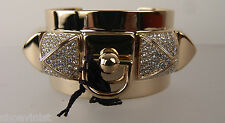 Juicy Couture Pave Heavy Metal Pyramid Metal Cuff Bracelet New