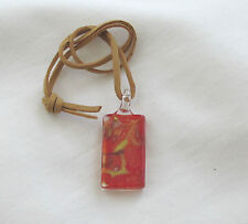 Handmade Gold & Orange Lampwork Glass Pendant with Suede Necklace - Gift Idea