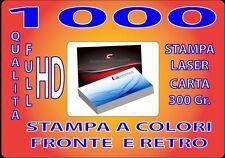 1000 BIGLIETTI DA VISITA A COLORI 300GR STAMPA FRONTE E RETRO QUALITA' FULL HD