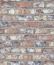 Tapete Vlies Grandeco Exposed Warehouse Klinker 3D Stein Mauer rot EW3103 (2,79€