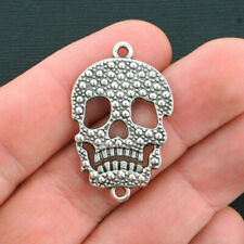 4 Skull Connector Charms Antique Silver Tone - SC4076