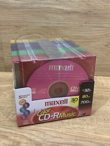 Maxell 30 Pack Color CD-R Music 700MB 80min Up To 32X Recording Speed NEW NOS