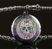 White Sugar Skull Photo Glass Gun Black Chain Locket Pendant Necklace