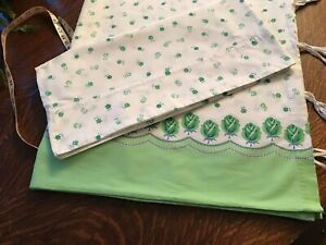 """percale cotton floral 65""""x78"""" duvet wh. green flowers 19x39 case  fabric yardage"""