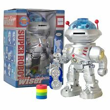 Remote Control RC Robot Disc Firing Walking Talking Dancing Light-Up Kids Space