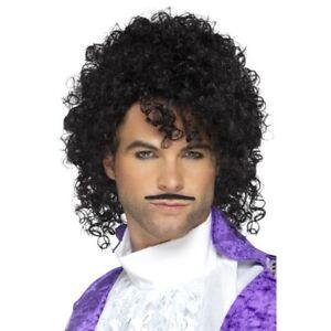 Black Curly Celebrity Wig n Moustache Kit Prince Pop King Fancy Dress Accessory