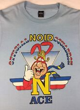 Vintage Mens L 1988 80s Domino's Pizza The Noid Ace Advertising Blue T-Shirt