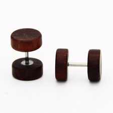 Natural Wooden Stainlee Steel Ear Studs Barbell Piercing Punk Earrings Jewelry Coffee