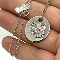 "Enamel Sterling Silver CZ Hello Kitty Pendant Chain Necklace. 18""."
