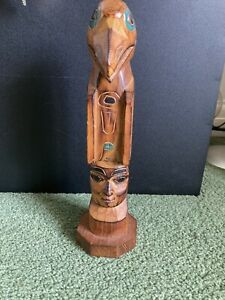 Alaskan Totem Wooden Eagle Signed Collectible Carved Piece Inuit
