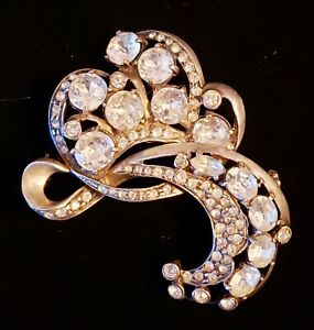 Stunning Eisenberg Original Sterling Swirls Brooch Dazzling Crystal Rhinestones