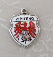 VIPITENO ITALY Vintage Silver Enamel Travel Shield Charm
