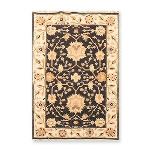 """3'10"""" x 5'10"""" Nourison Nourmak Hand Knotted Wool High Low Pile Area Rug Black"""