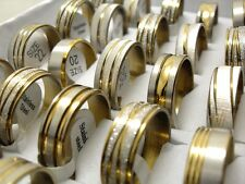 15pcs Gold Mix Men's Fashion Stainless Steel Rings Wholesale Jewlery Job lot