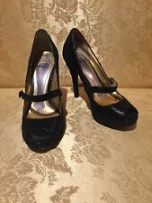 Hale Bob Mary Jane Open Toe Heels US Size 6 Black Leather Snake Print Pumps
