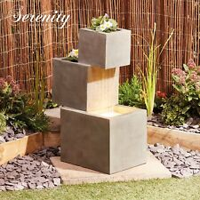 Cascade Water Feature Fountain Garden Outdoor with Flower Planters Serenity NEW