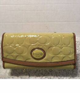 Coach Peyton Embossed Patent Leather File Envelope Wallet Chartreuse Tan F48165