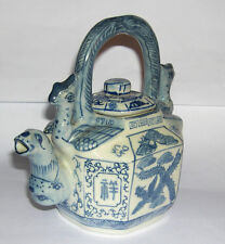 Chinese Blue & White Tea Pot - Attractive Design, Clear Pattern - Marked