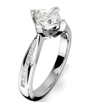 0.69 Ct Princess Bridal Diamond Engagement Ring 14K Solid White Gold Size 5.5 6