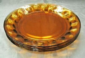 "Durand  Arcoroc PETALE Amber Set of 4-9"" Luncheon Sm Dinner Plates Thumbprint"