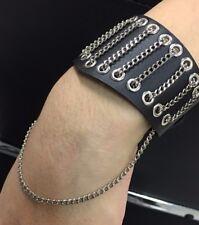 Punk unisex faux leather wide bracelet cuff wristband in black colour