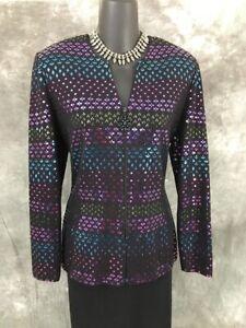 BEAUTIFUL St John evening jacket knit black purple blue paillettes suit blazer 6