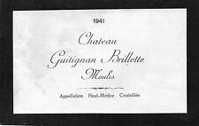 MOULIS MEDOC VIEILLE ETIQUETTE CHATEAU GUITIGNAN BRILLETTE 1941     §11/09/16§