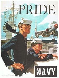 United States Pride Navy Memorial Military Sailor Vintage War Poster