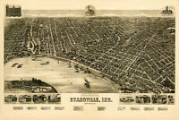 Map of Evansville, Indiana; Antique Map; Pictorial or Birdseye Map, 1888