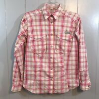 Columbia Omni Shade PFG Fishing Activewear Red Plaid Button Down Mesh Top S