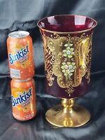 "WIDE CZECH BOHEMIAN MADESK GOLD HIGH ENAMEL RUBY RED CRYSTAL GLASS VASE 11"""