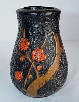 VTG Art Deco Black Japanese Tokanabe Ware Pottery Flower Vase Japan Asian Floral