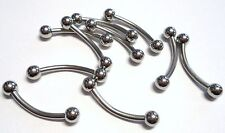 10 Surgical Steel Silver Curved Barbell Anti Eyebrow Nipple Ring 14g 14 gauge