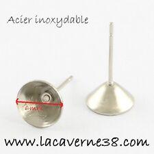 Lot 8 pièces = 4 paires Clou d'oreille creux pour perle ou strass avec fermoir