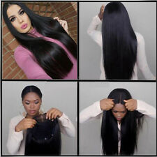 "26"" Long Straight Natural Black Heat resistant Synthetic Lace Front Wig P Gift"