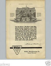 1925 PAPER AD Walker Car Auto Balloon Tire Jack Store Window Sign Weaver Hoist