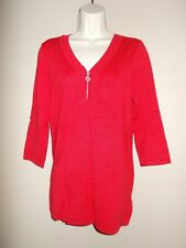 New Cable & Gauge Womens Size M Pullover Red Sweater Rhinestone Zipper 3/4 Slv