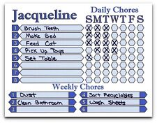 Daily Weekly Chore Chart for Kids to Adults use as Dry Erase Board, Custom Name
