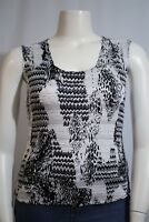 Alberto Makali Misses LARGE Black White Textured Stretch Sleeveless Tank Shirt