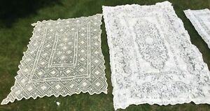 Lot of 4 elegant vintage Linen & Lace Tablecloths GORGEOUS crochet