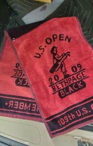 NEW Vintage 2009 US Open Bethpage Member Red Black Golf Bag Towel PGA Tour USGA