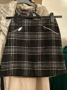 Womens Size 6 Winter Skirt Black And White Check, Wool Mix, New Look Brand
