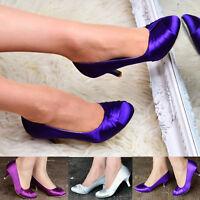 Ladies Satin Bridal Shoes Classic Fashion Evening Low Mid Kitten Heel Court Pump
